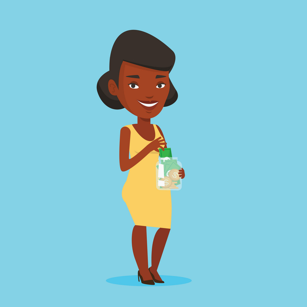 An african-american business woman holding money jar. Business woman saving money banknotes in glass jar. Business woman putting money into glass jar. Vector flat design illustration. Square layout.