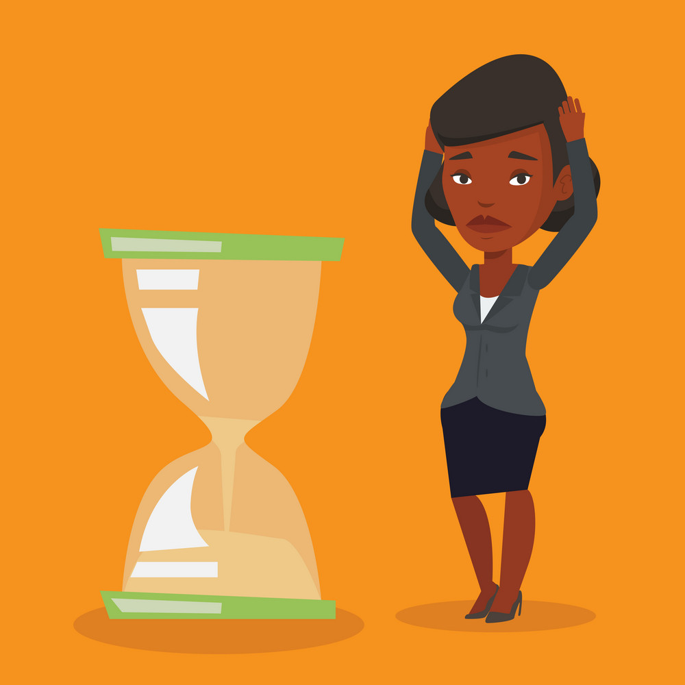 An african-american business woman looking at hourglass symbolizing deadline. Woman worrying about deadline terms. Time management and deadline concept. Vector flat design illustration. Square layout.