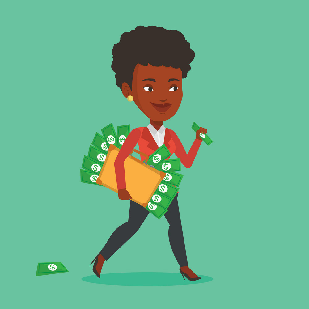 An african-american business woman walking with briefcase full of money committing economic crime. Business woman stealing money. Economic crime concept. Vector flat design illustration. Square layout