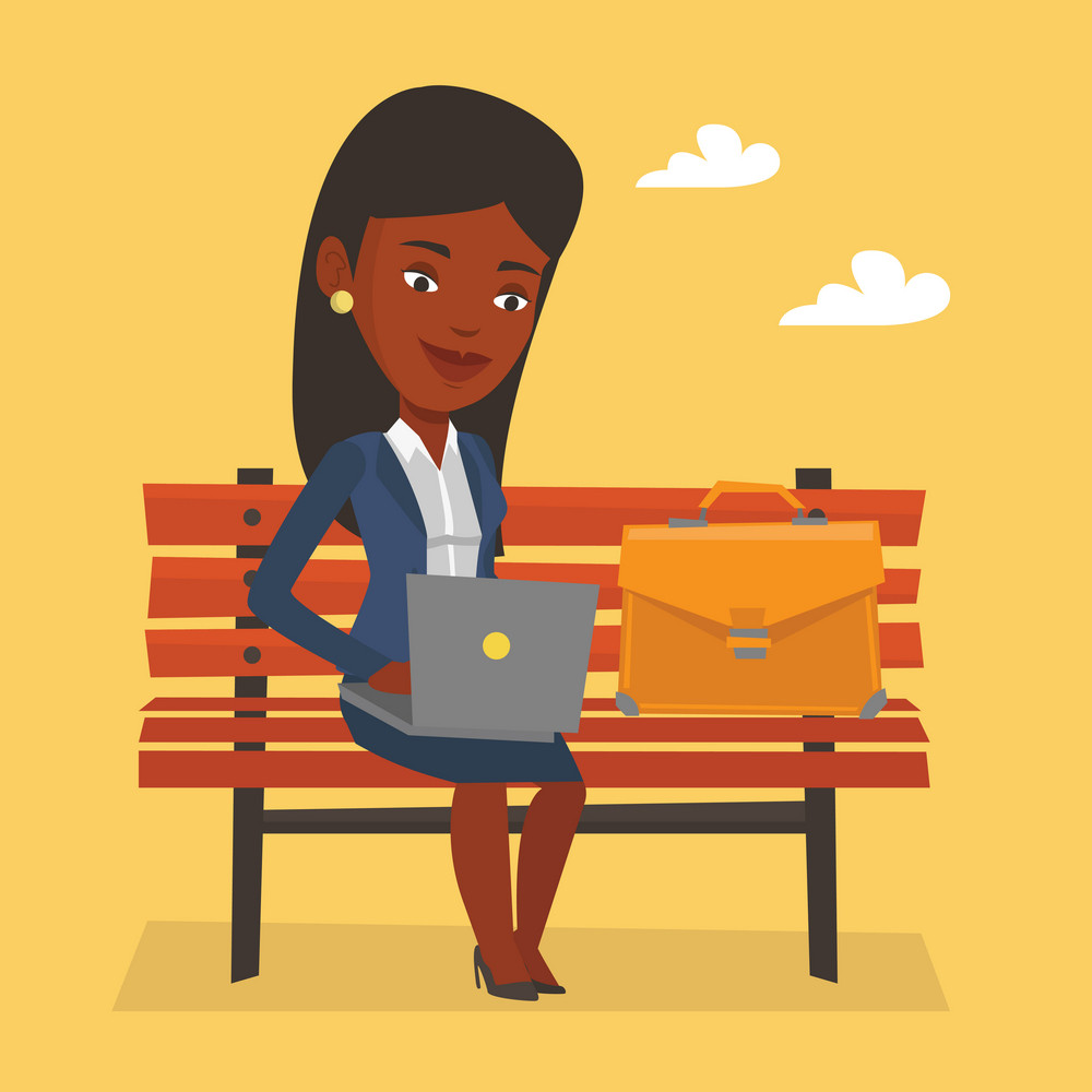 An african-american business woman working outdoor. Business woman working on a laptop. Young business woman sitting on a bench and working on laptop. Vector flat design illustration. Square layout.