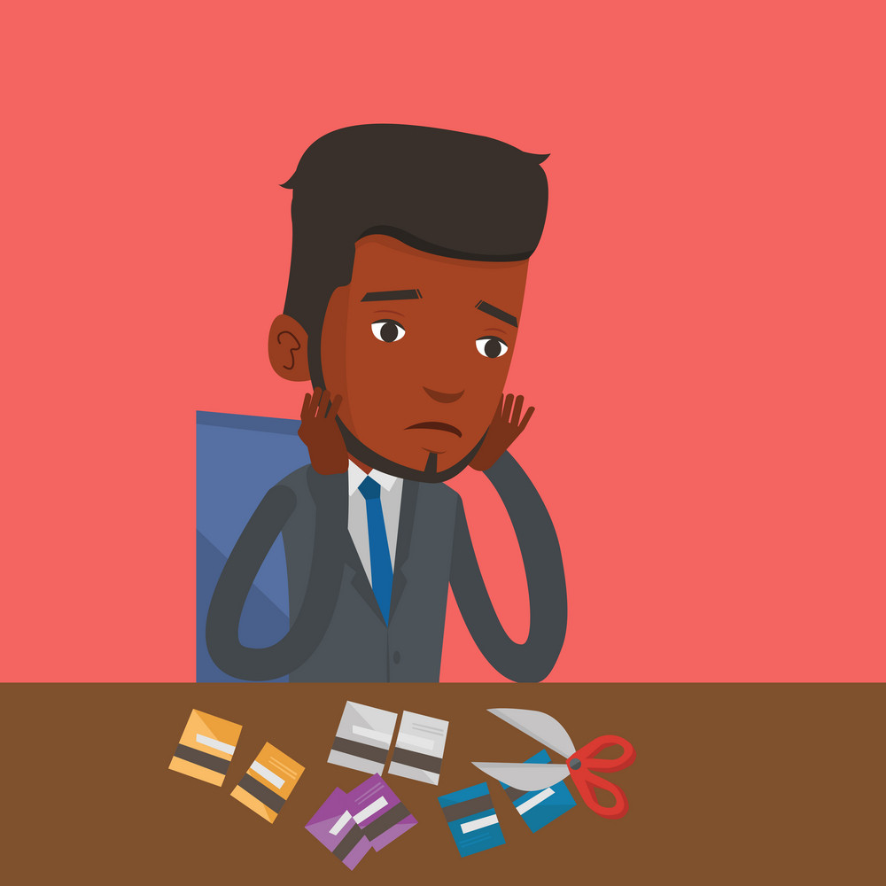 An african-american businessman cutting credit card. Man sitting at the desk with cut credit card. Businessman cutting credit card with scissors. Vector flat design illustration. Square layout.