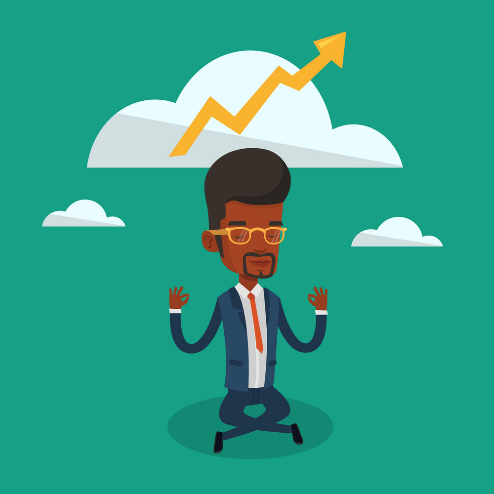 An african-american businessman doing yoga in lotus position and thinking about the growth graph. Peaceful businessman meditating in yoga lotus position. Vector flat design illustration. Square layout