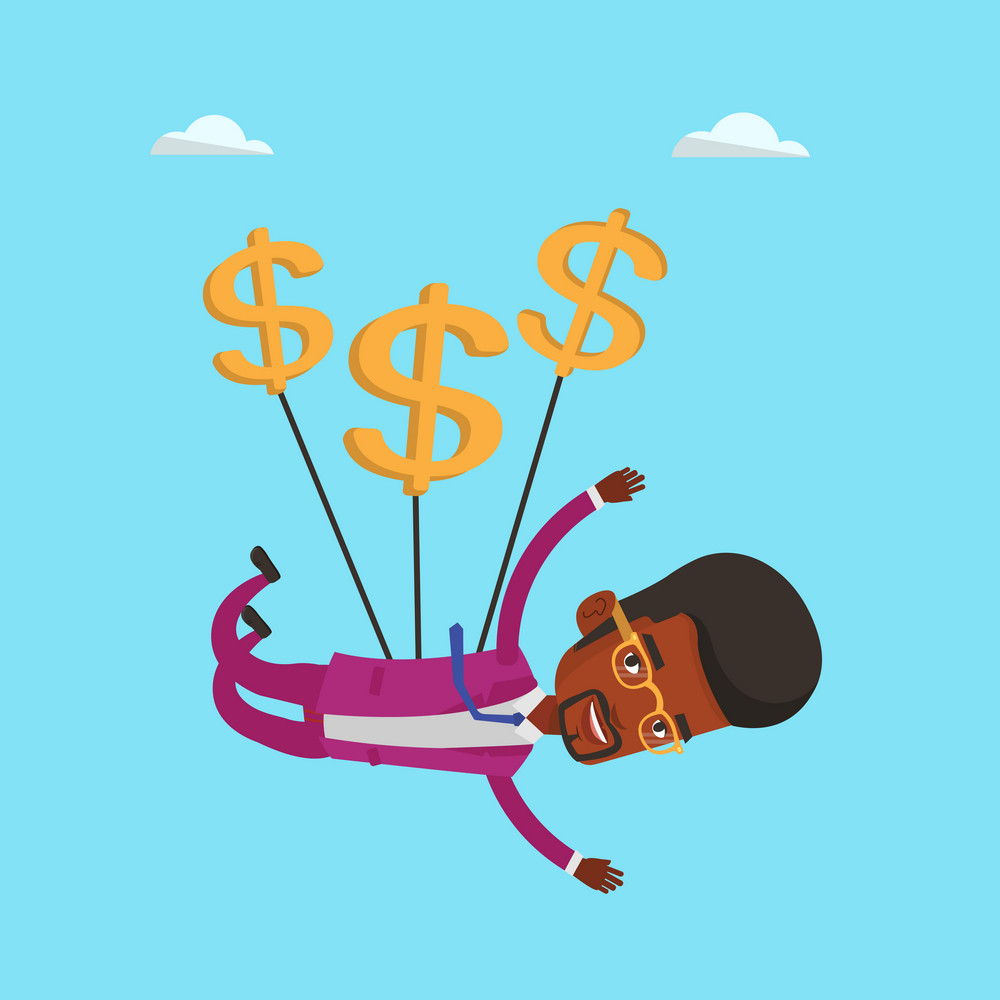 An african-american businessman flying with dollar signs. Businessman gliding in the sky with dollars. Cheerful businessman using dollars as parachute. Vector flat design illustration. Square layout.