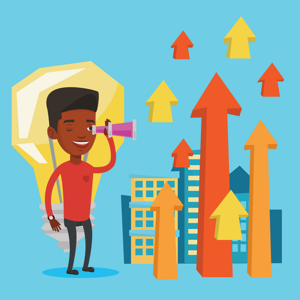 An african-american businessman looking through spyglass at arrows going up and idea bulb. Businessman looking for business idea. Business idea concept. Vector flat design illustration. Square layout.