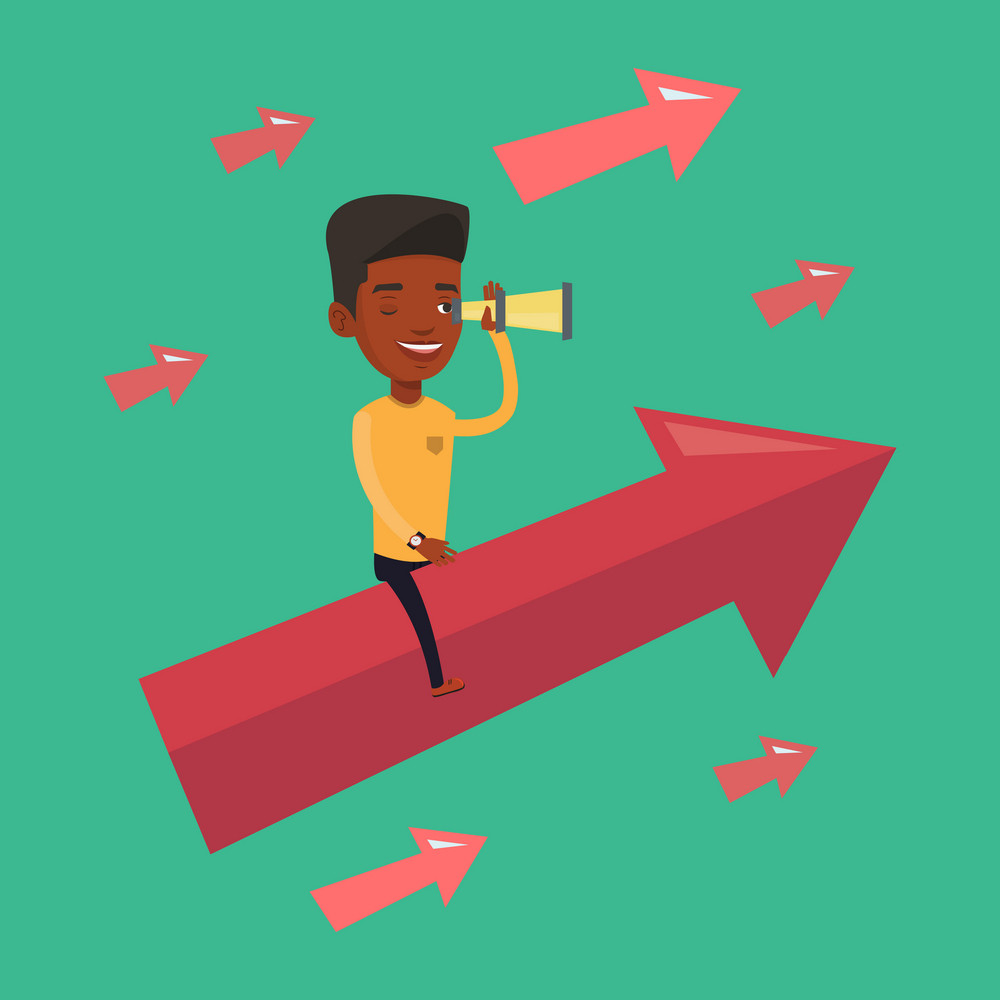 An african-american businessman searching for opportunities. Businessman using spyglass for searching of opportunities. Business opportunities concept. Vector flat design illustration. Square layout.
