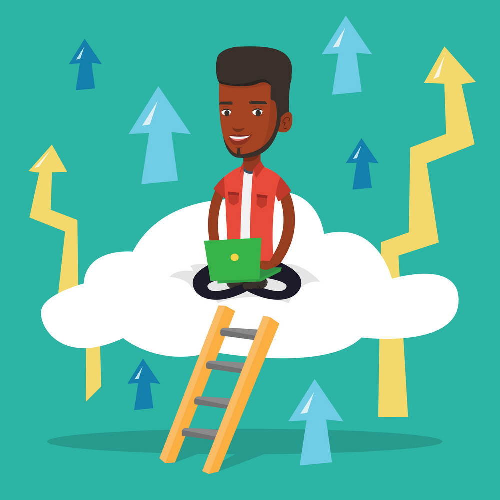 An african-american businessman sitting on a cloud and working on his laptop. Businessman using cloud computing technology. Cloud computing concept. Vector flat design illustration. Square layout.