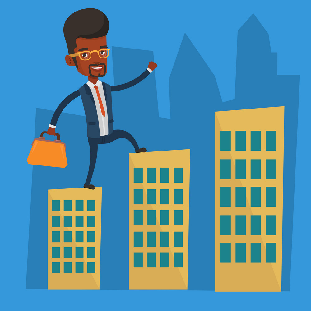 An african-american businessman walking on the roofs of city buildings. Man walking on the roofs of skyscrapers. Businessman walking to the success. Vector flat design illustration. Square layout.