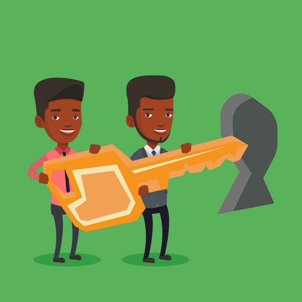 An african-american businessmen standing in front of a keyhole with a big key. Business team holding the key to success. Two businessmen carrying key. Vector flat design illustration. Square layout.