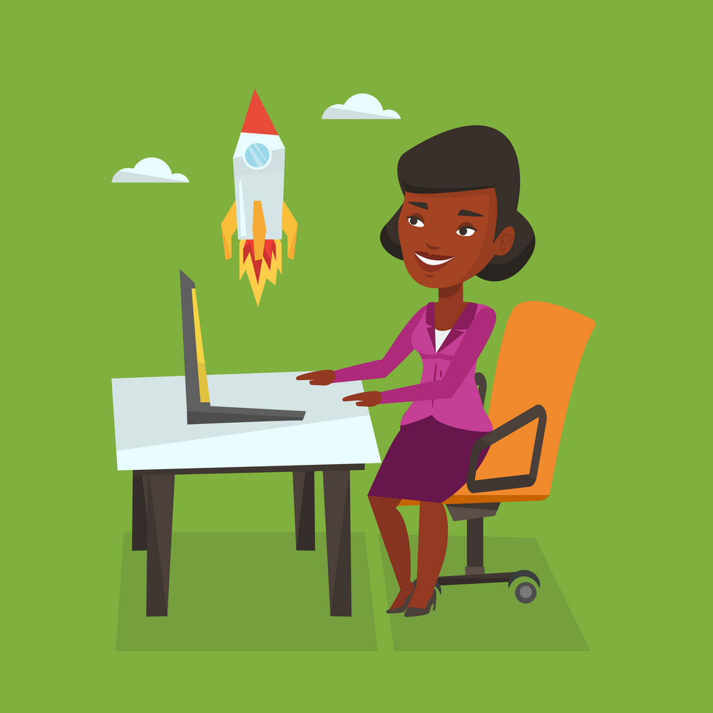 An african-american businesswoman looking at business start up rocket. Young businesswoman working on new business start up. Business start up concept. Vector flat design illustration. Square layout