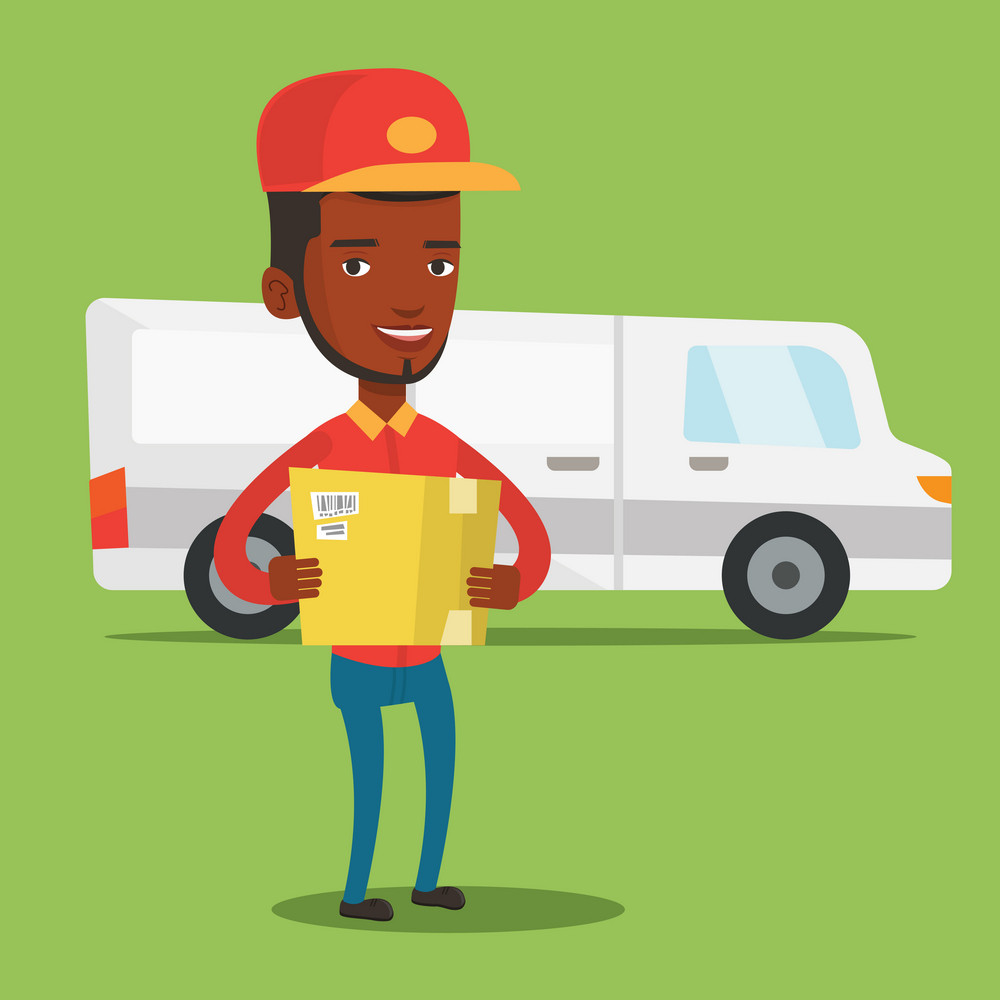 An african-american delivery courier holding box on the background of truck. Delivery courier carrying cardboard box. Delivery courier with box in hands. Vector flat design illustration. Square layout