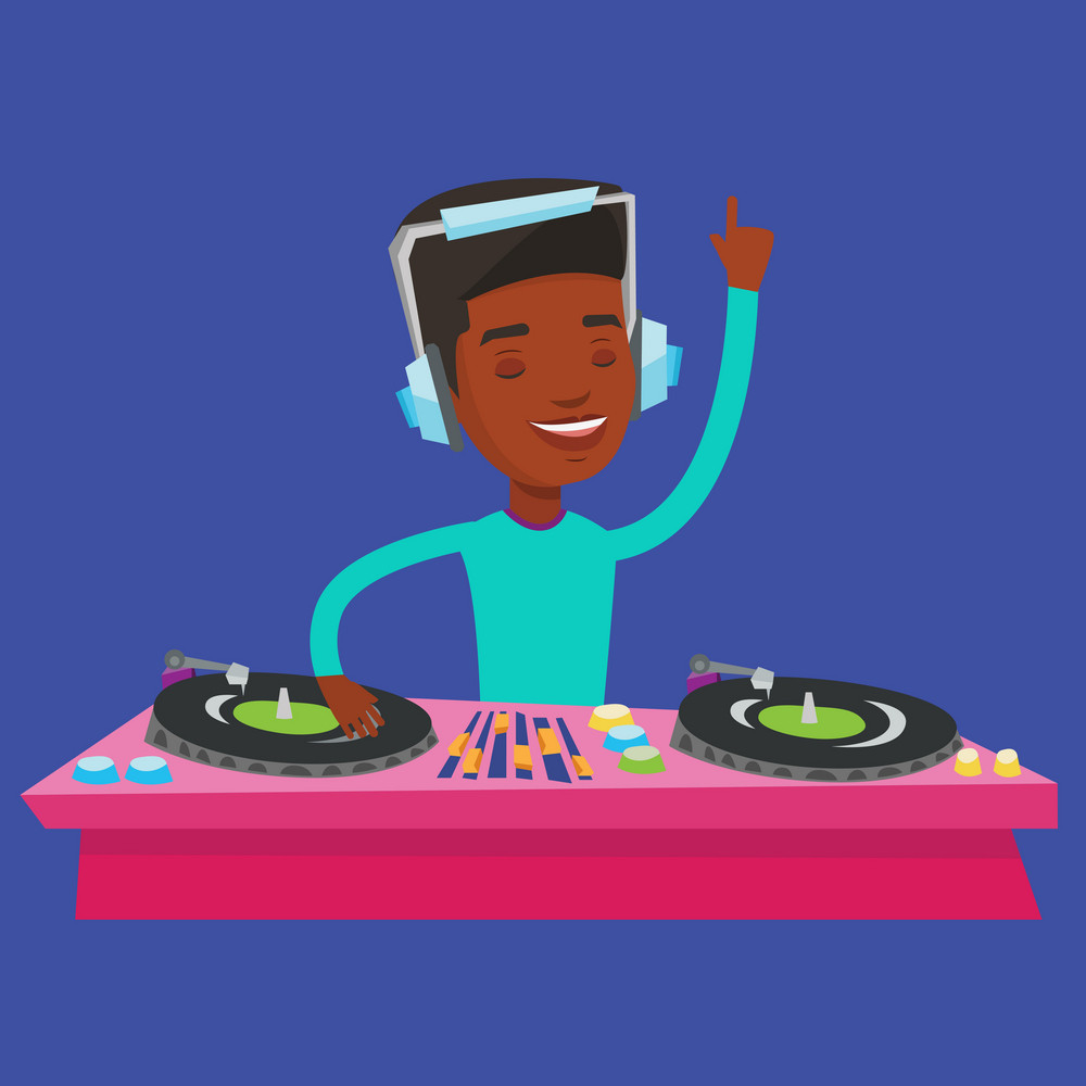 An african-american DJ in headphones at the party in night club. Young male DJ mixing music on turntables. Happy DJ playing and mixing music on deck. Vector flat design illustration. Square layout.