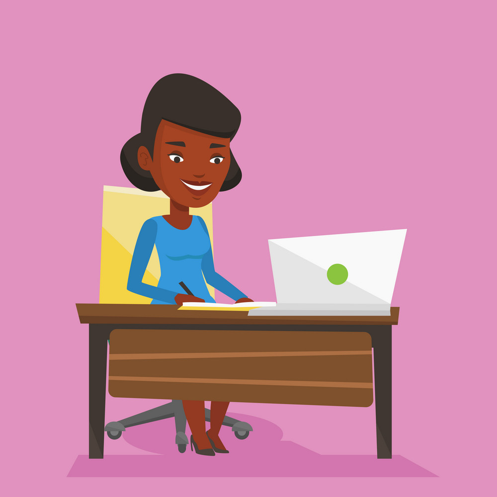 An african-american female student sitting at the table with laptop. Student using laptop for education. Student working on a laptop and writing notes. Vector flat design illustration. Square layout