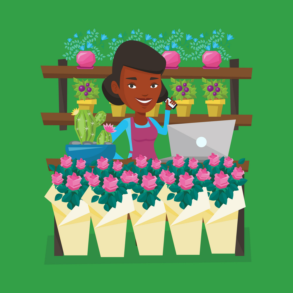 An african-american florist using telephone and laptop to take order. Young florist standing at the counter at flower shop. Woman working in flower shop. Vector flat design illustration. Square layout