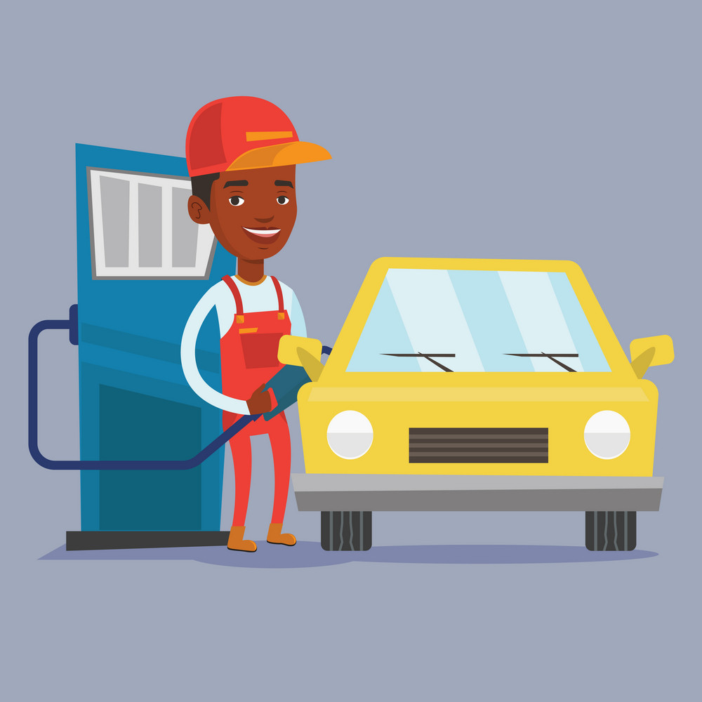 An african-american gas station worker filling up fuel into the car. Smiling worker in workwear at the gas station. Gas station worker refueling a car. Vector flat design illustration. Square layout.