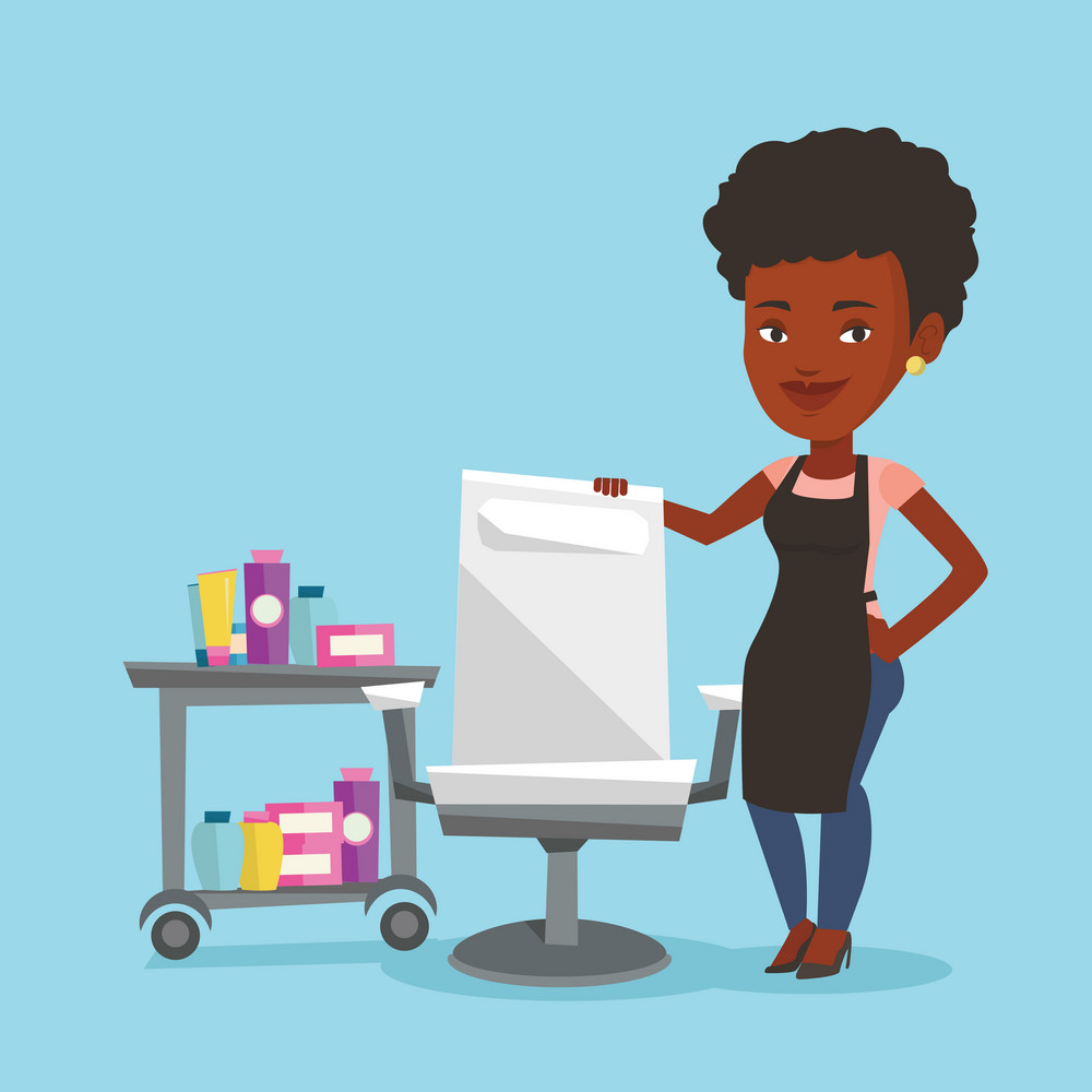 An african-american hairdresser standing near armchair and table with cosmetics in beauty saloon. Hairdresser standing at workplace in beauty saloon. Vector flat design illustration. Square layout.