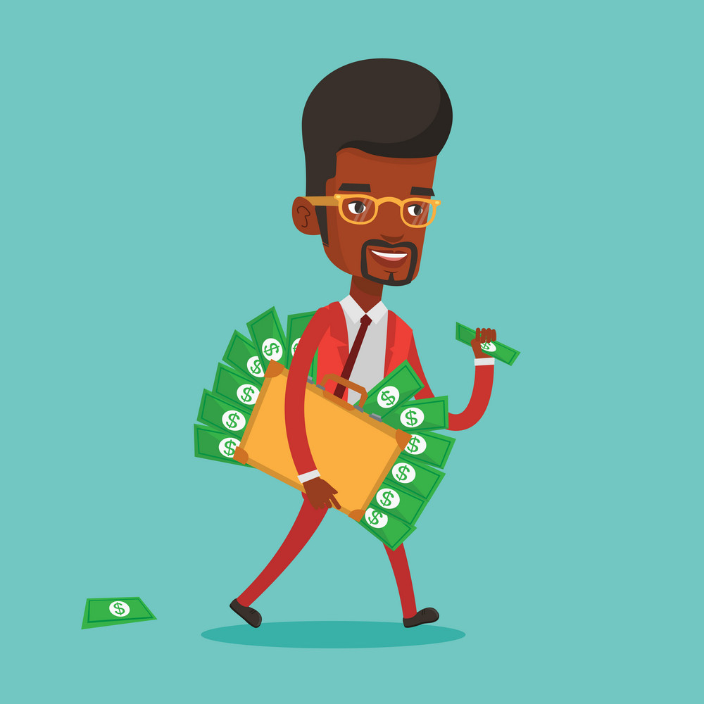 An african-american happy businessman walking with briefcase full of money committing economic crime. Businessman stealing money. Economic crime concept. Vector flat design illustration. Square layout
