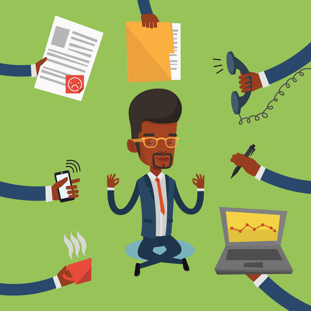 An african-american hard working businessman. Businessman surrounded by many hands that give him a lot of work. Concept of hard working. Vector flat design illustration. Square layout.