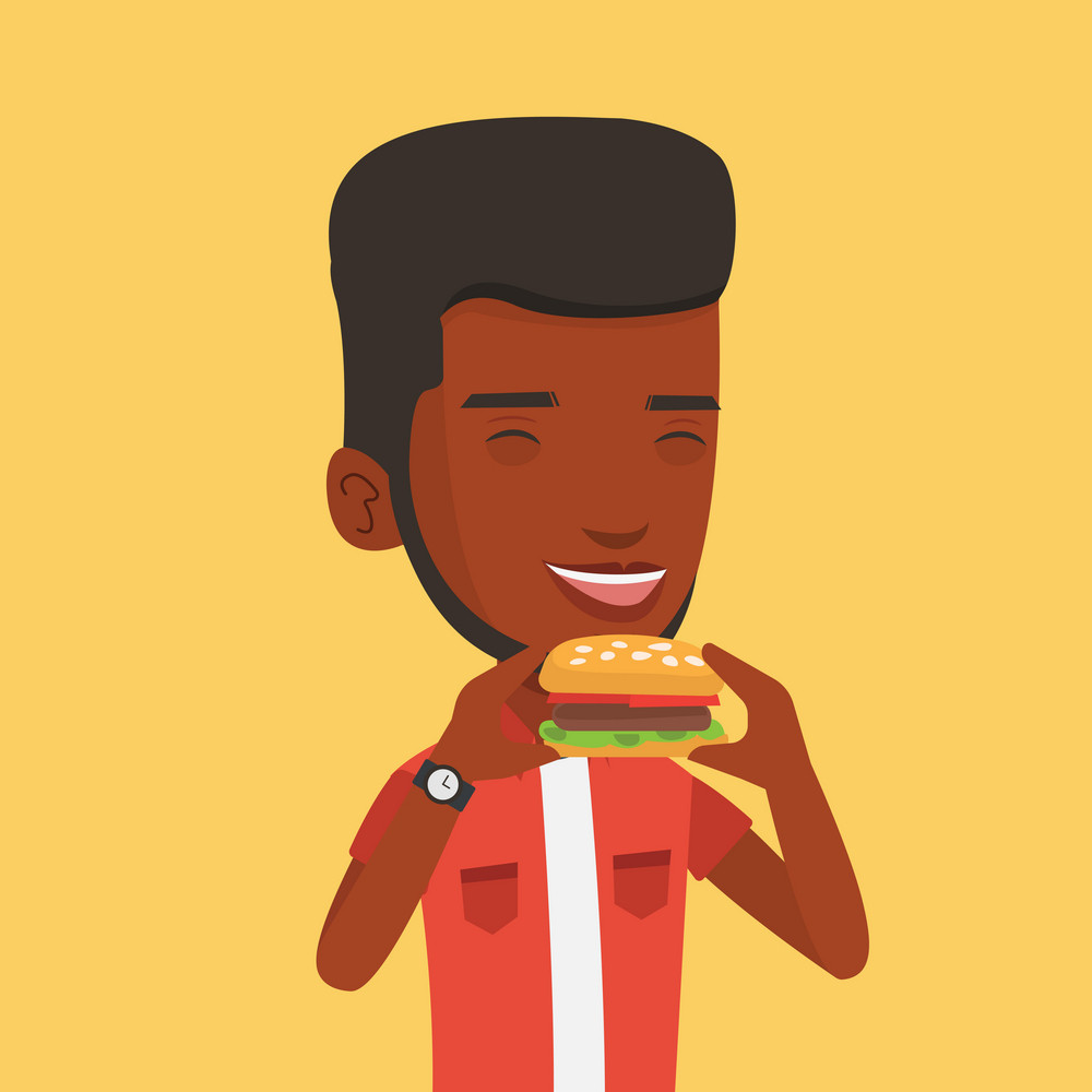 An african-american joyful man eating hamburger. Happy man with eyes closed biting hamburger. Young smiling man is about to eat delicious hamburger. Vector flat design illustration. Square layout.
