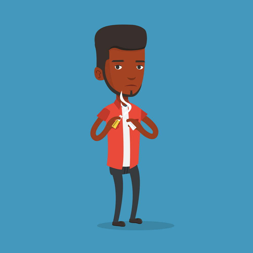 An african-american man breaking the cigarette. Young man crushing cigarette. Man holding broken cigarette. Quit smoking concept. Vector flat design illustration. Square layout.