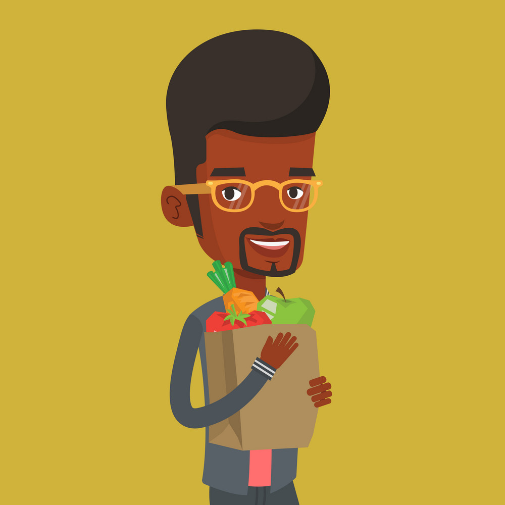 An african-american man carrying grocery shopping bag with vegetables. Man holding grocery shopping bag with healthy food. Man with grocery shopping bag. Vector flat design illustration. Square layout