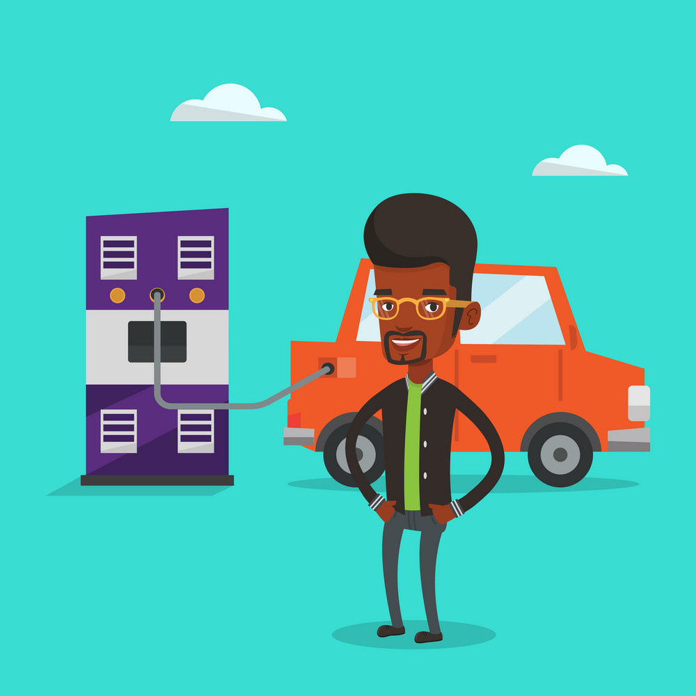An african-american man charging electric car at charging station. Man standing near power supply for electric car. Charging of electric car. Vector flat design illustration. Square layout.