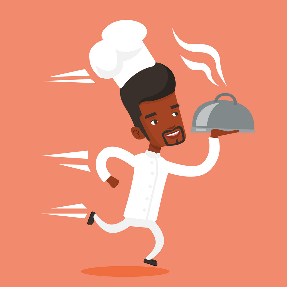 An african-american man chef cook in a cap and white uniform running. Young cheerful chef cook holding a cloche. Chef cook fast running with a cloche. Vector flat design illustration. Square layout.