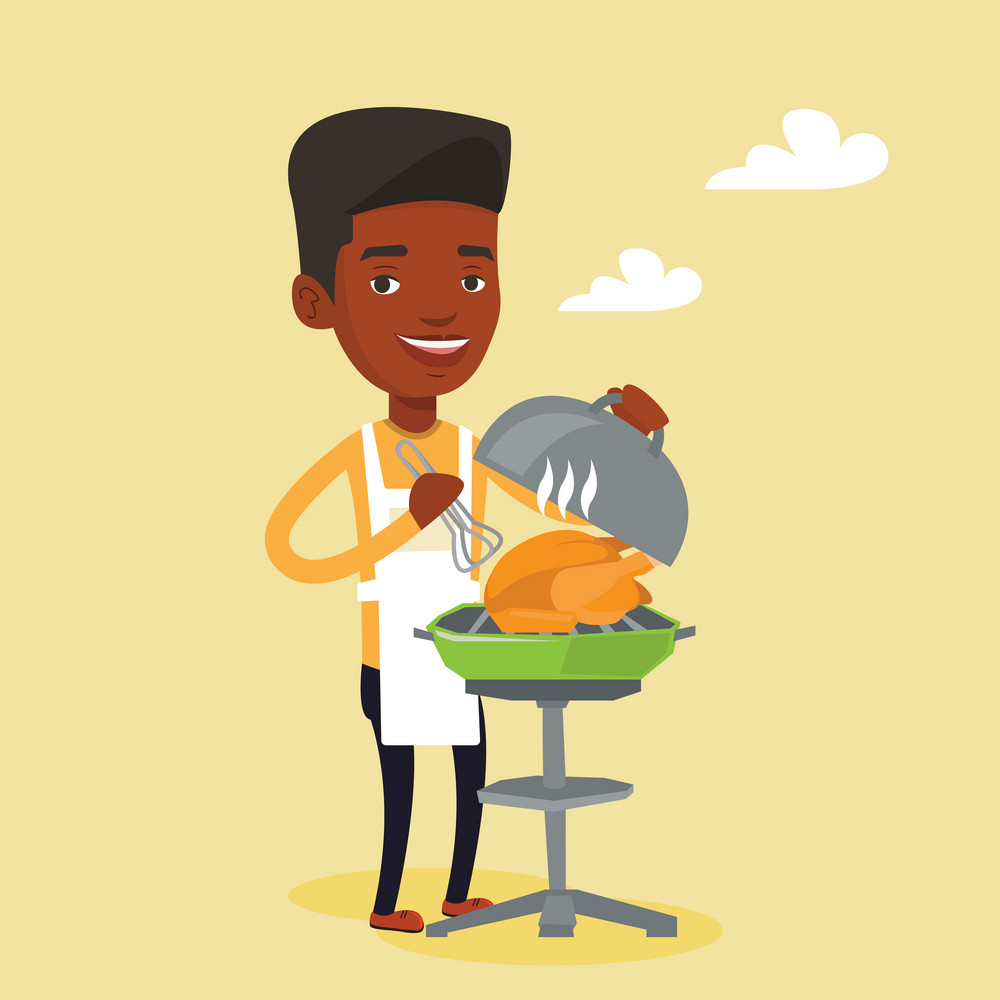 An african-american man cooking chicken on barbecue grill outdoors. Young smiling man having a barbecue party. Man preparing chicken on barbecue grill. Vector flat design illustration. Square layout.