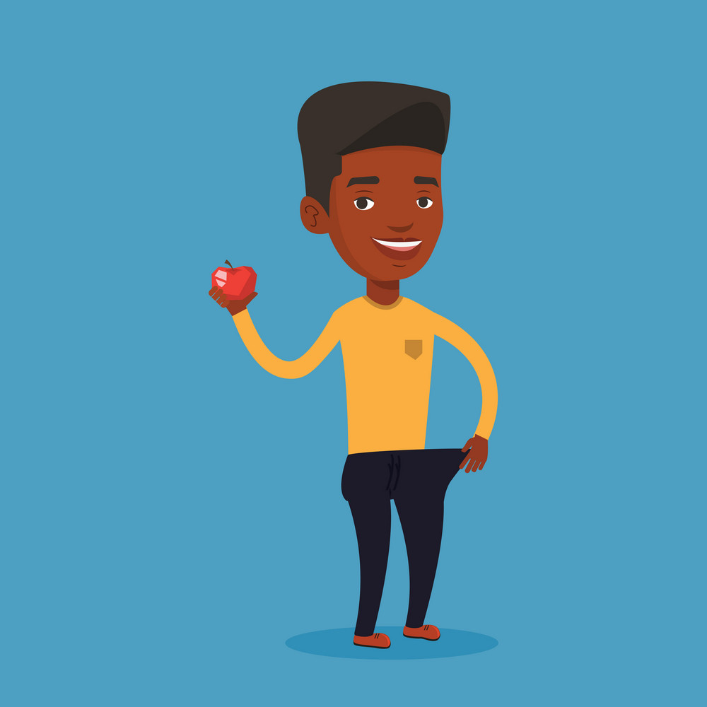An african-american man in oversized trousers holding an apple in hand. Slim man showing the results of his diet. Dieting and healthy lifestyle concept. Vector flat design illustration. Square layout.