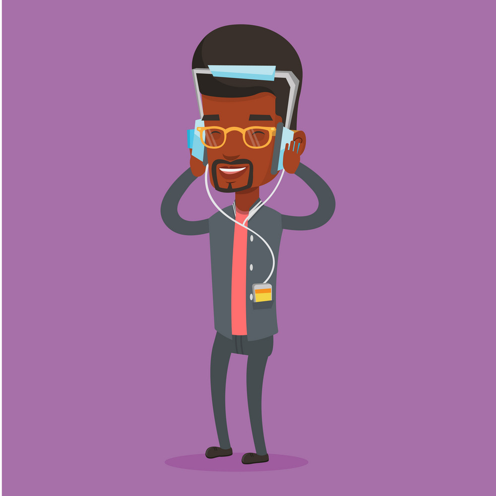 An african-american man listening to music on her smartphone. Man in headphones listening to music. Relaxed man with eyes closed enjoying music. Vector flat design illustration. Square layout.