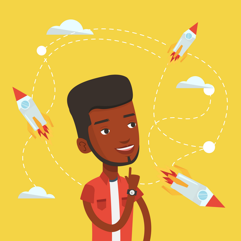 An african-american man looking at flying business rockets. Young man came up with an idea for a business start up. Business start up concept. Vector flat design illustration. Square layout.