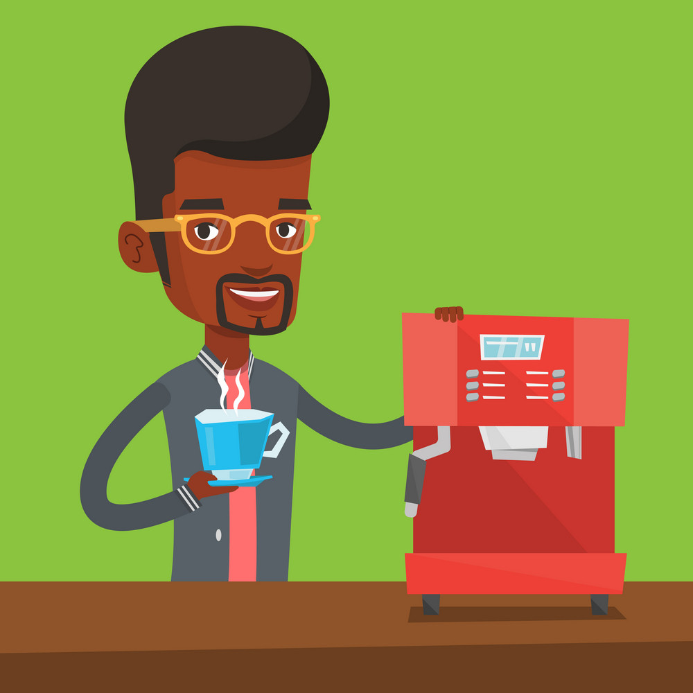 An african-american man making coffee with a coffee-machine. Young man holding cup of hot coffee in hand. Vector flat design illustration. Square layout.