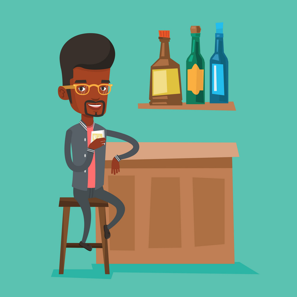 An african-american man man sitting at the bar counter. Man sitting with glass in bar. Vector flat design illustration. Square layout
