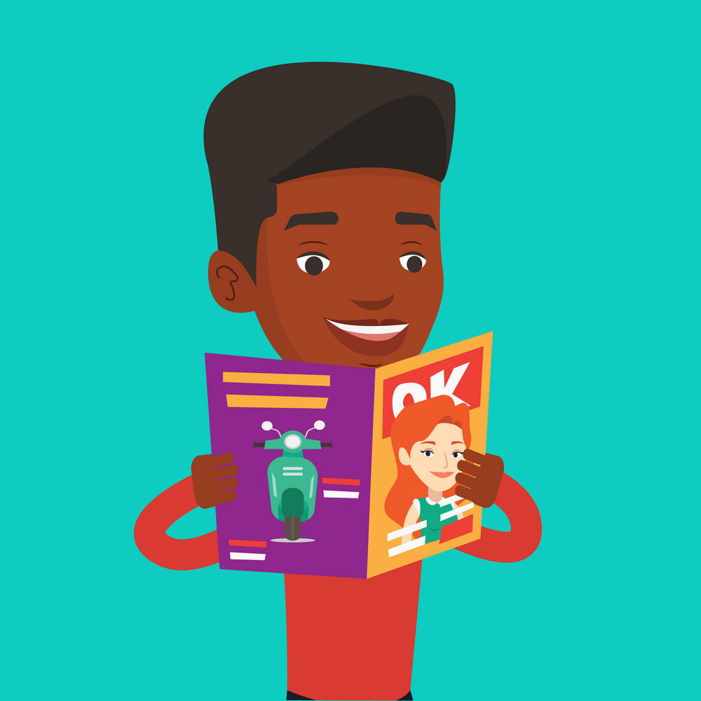 An african-american man reading a magazine. Young man standing with magazine in hands. Happy man reading good news in a magazine. Vector flat design illustration. Square layout.