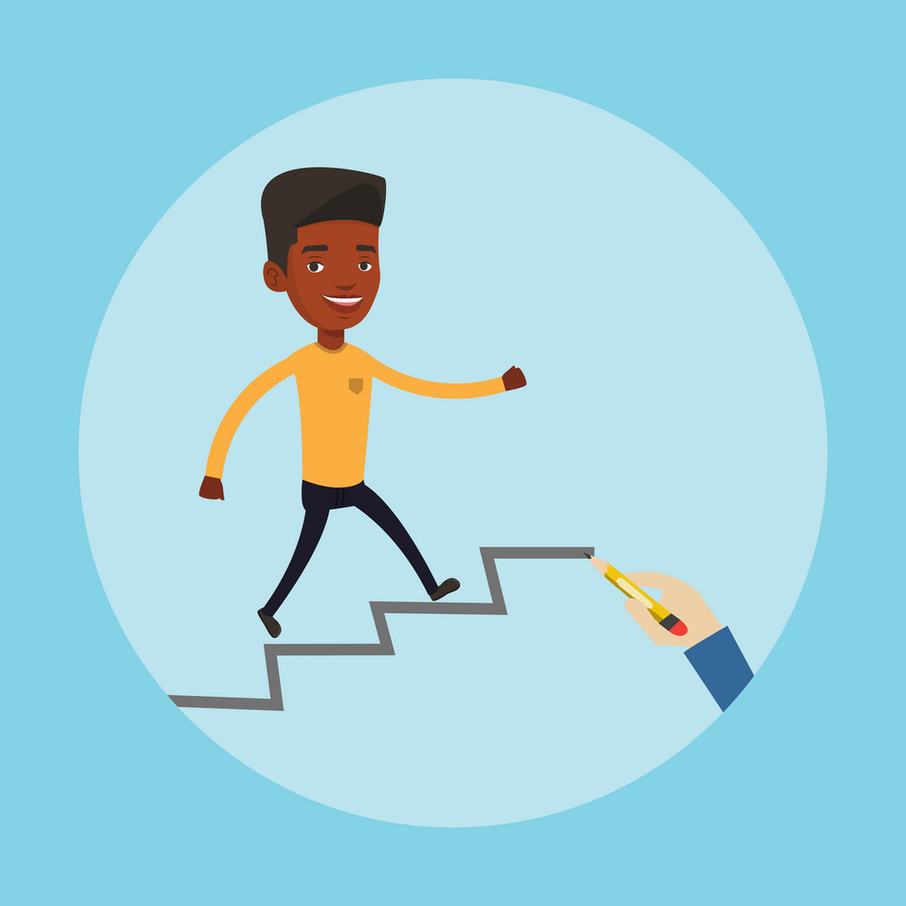 An african-american man running up the career ladder drawn by hand with pencil. Happy businessman climbing the career ladder. Concept of business career. Vector flat design illustration. Square layout