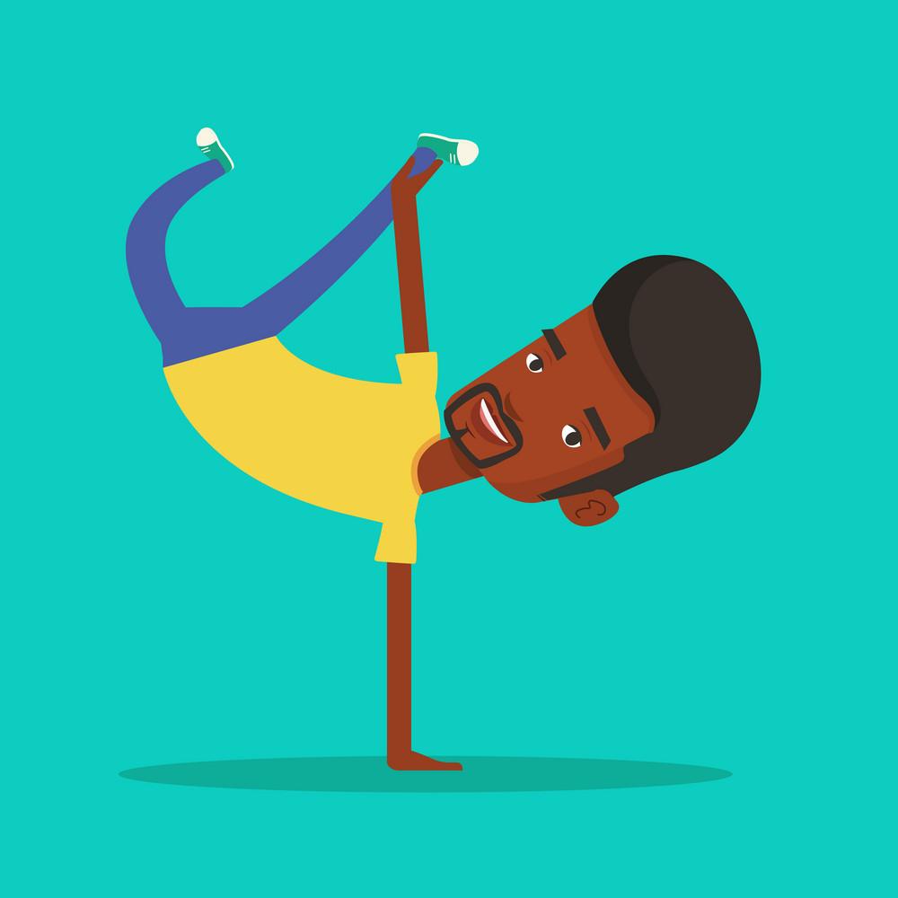 An african-american man showing his skills in break dance. Happy break dance dancer doing handstand. Young smiling man dancing. Strong man breakdancing. Vector flat design illustration. Square layout.
