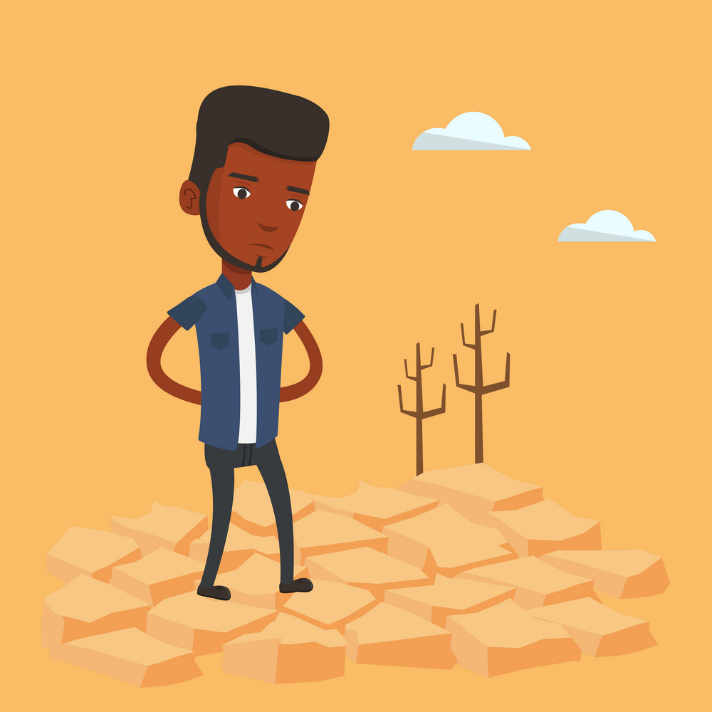 An african-american man standing in the desert. Frustrated man standing on cracked earth in the desert. Concept of climate change and global warming. Vector flat design illustration. Square layout.
