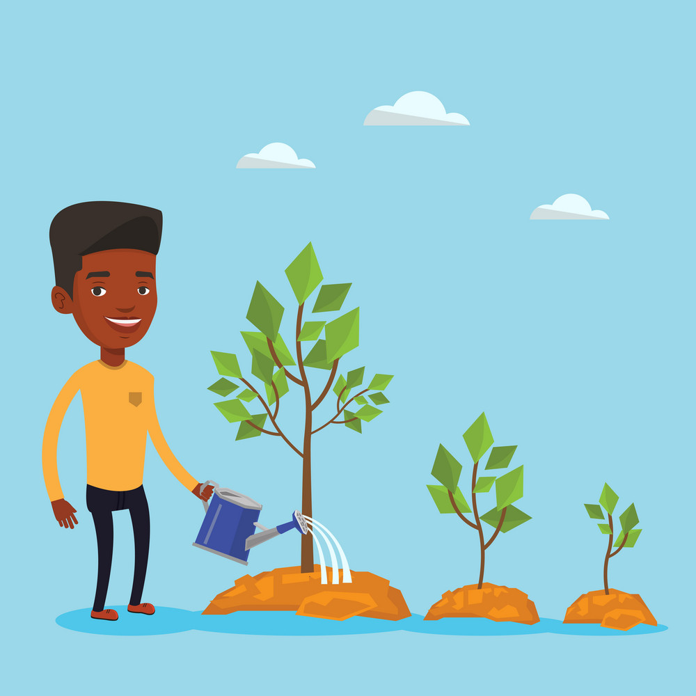 An african-american man watering trees of three sizes. Young businessman watering plants with watering can. Business growth and investment concept. Vector flat design illustration. Square layout.