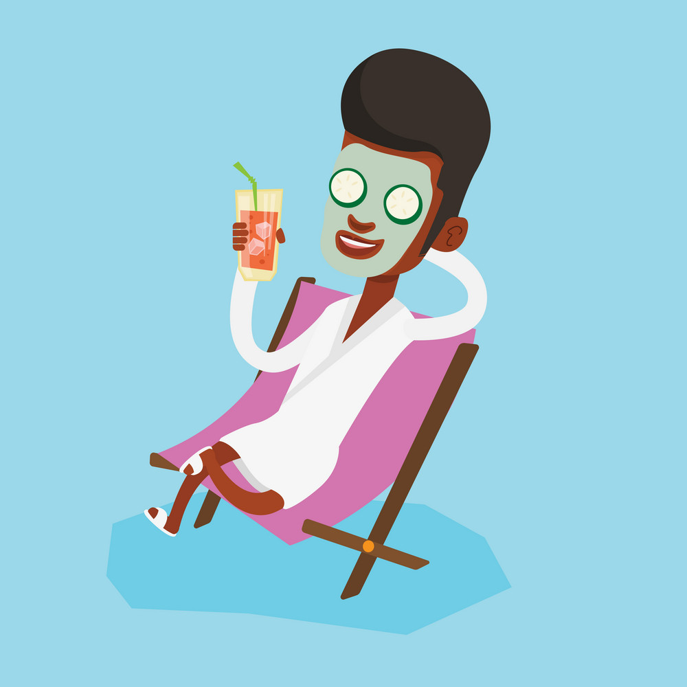 An african-american man with beauty mask lying in chaise lounge and drinking cocktail. Happy man relaxing in beauty salon. Man having beauty treatments. Vector flat design illustration. Square layout