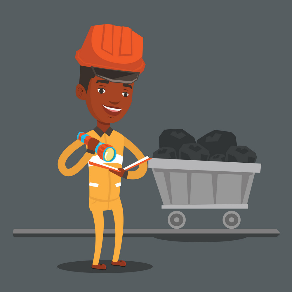 An african-american miner checking documents with the flashlight on the background of trolley with coal. Mine worker in hard hat. Miner in the coal mine. Vector flat design illustration. Square layout