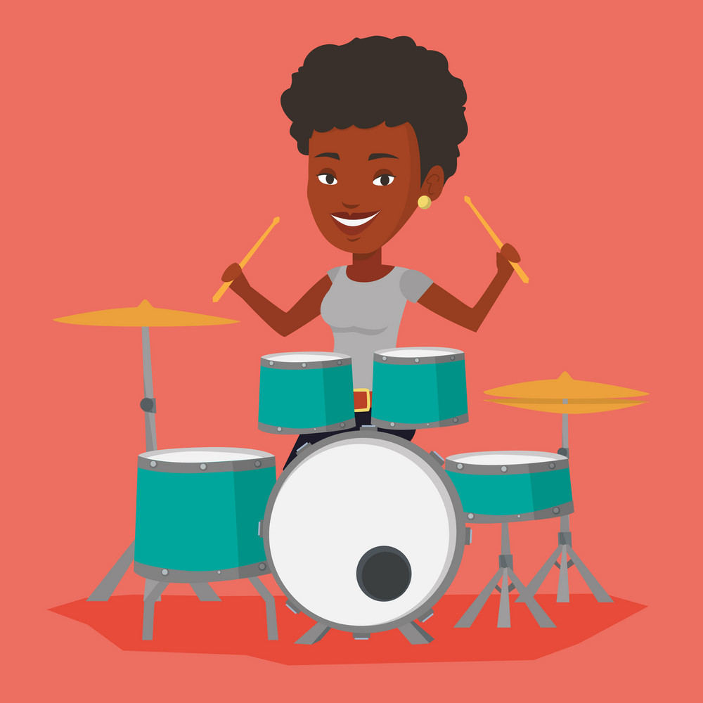 An african-american mucisian playing on drums. Woman playing on drums. Smiling young woman playing on drum kit. Happy woman sitting behind the drum kit. Vector flat design illustration. Square layout.
