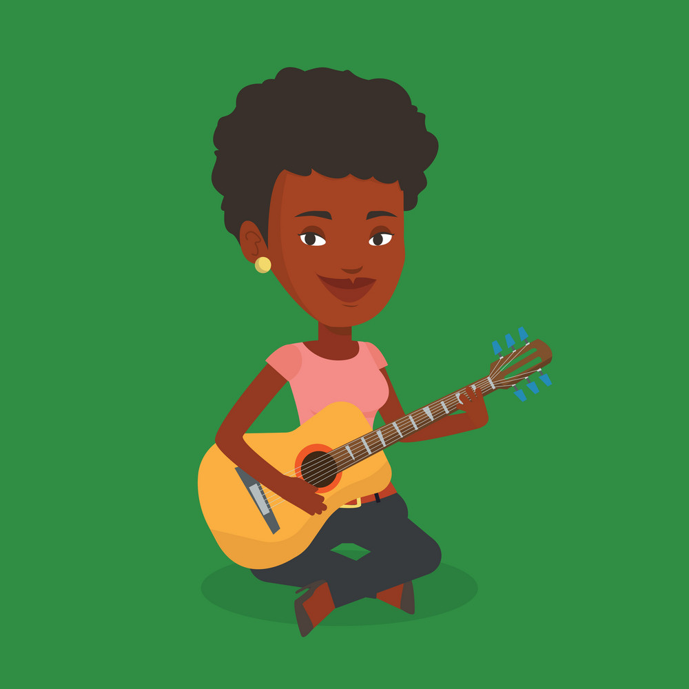 An african-american musician playing an acoustic guitar. Musician sitting with guitar in hands. Young female guitarist practicing in playing guitar. Vector flat design illustration. Square layout.