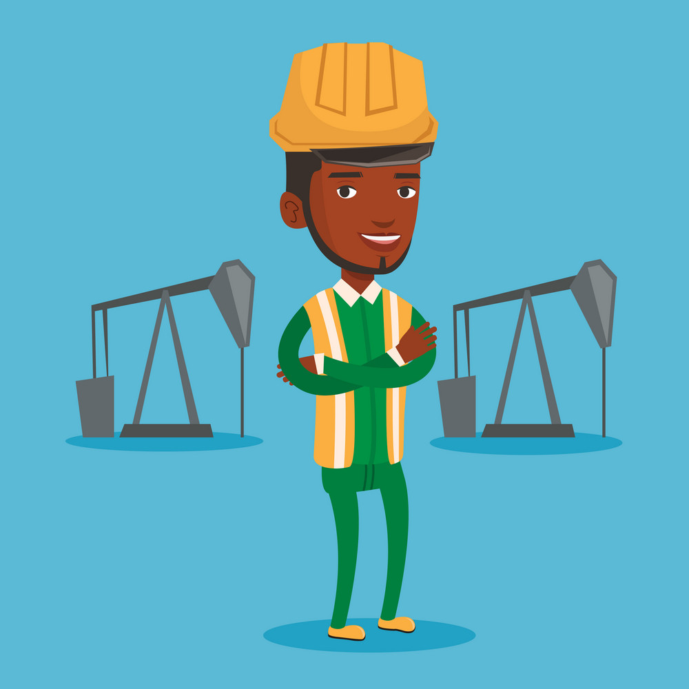 An african-american oil worker in uniform and helmet. Confident oil worker standing with crossed arms. Oil worker standing on the background of pump jack. Vector flat design illustration Square layout
