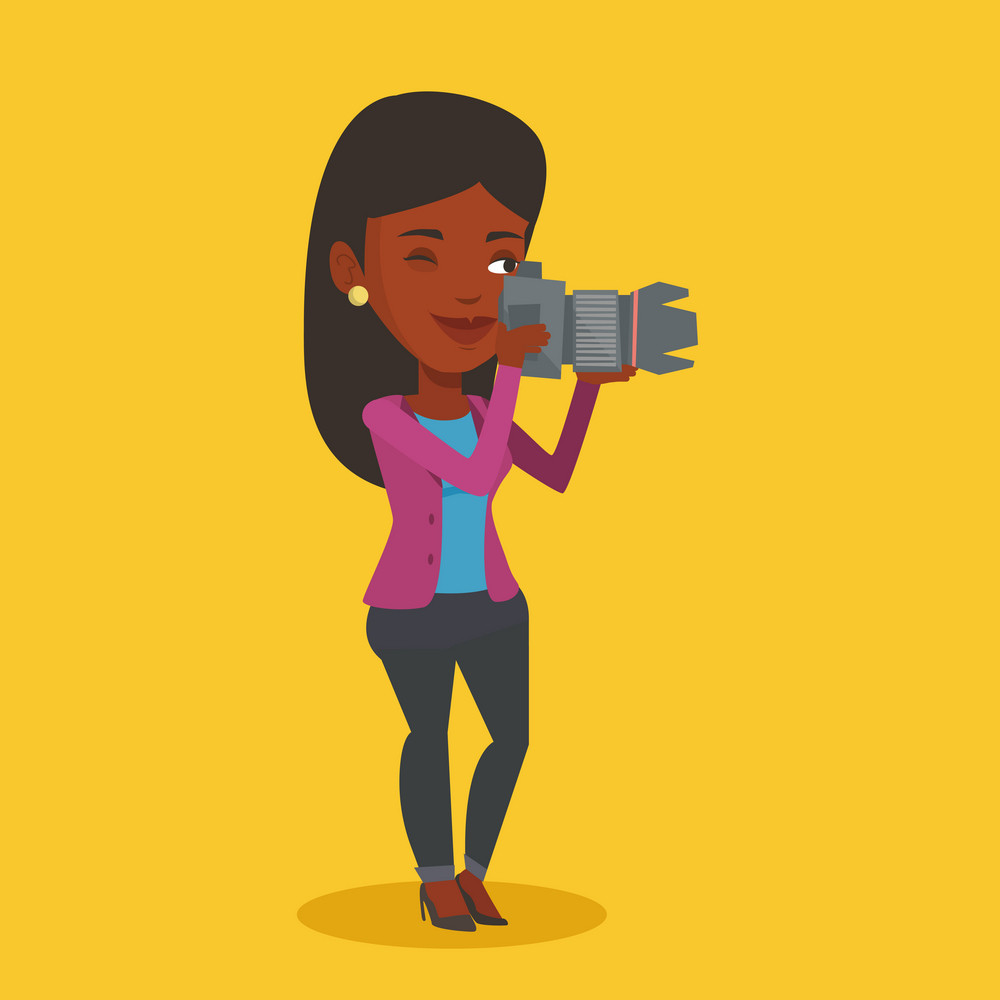 An african-american photographer working with digital camera. Female photographer taking a photo. Young photographer taking a picture. Vector flat design illustration. Square layout.