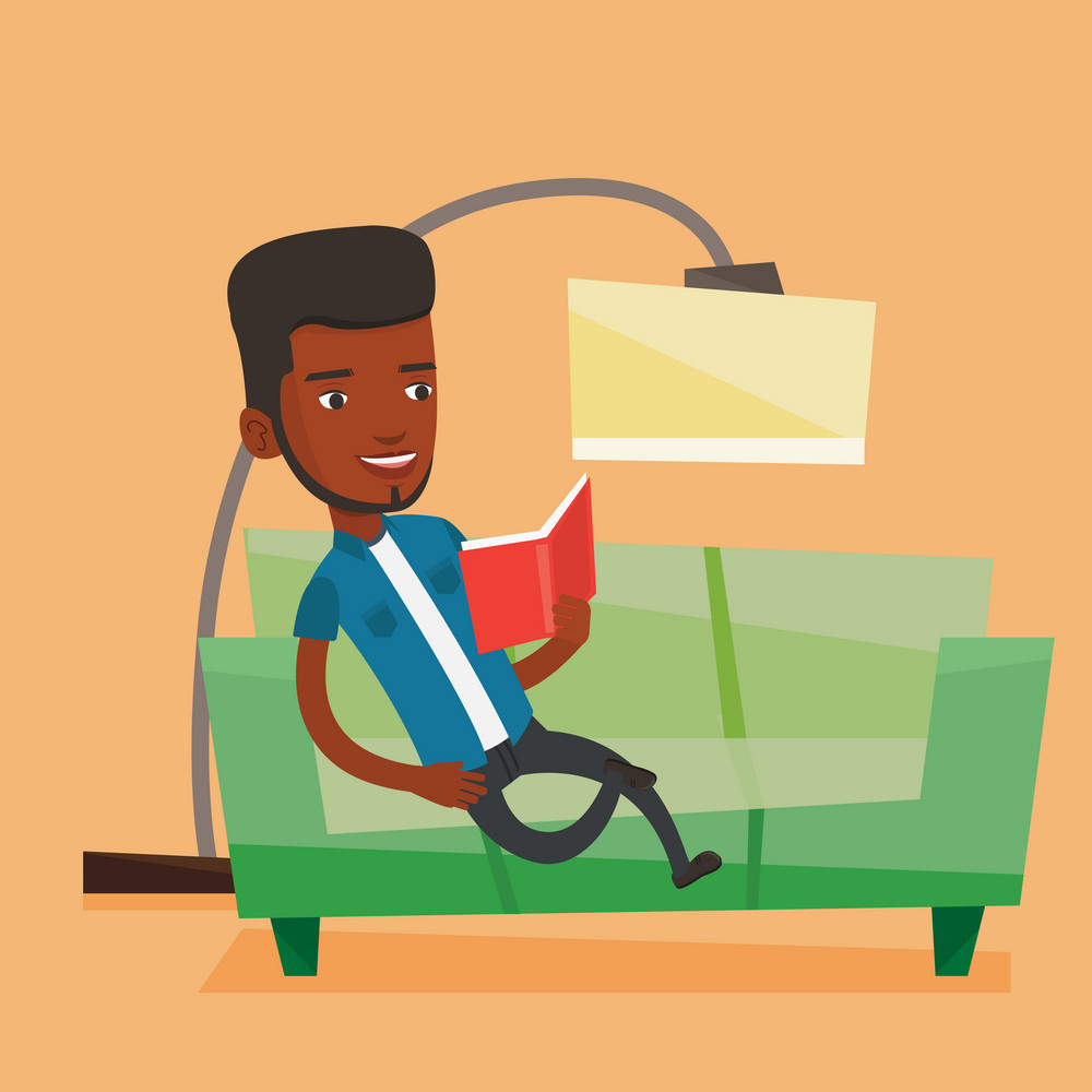 An african-american smiling man reading a book on a sofa. Man relaxing with a book on the couch at home. Man sitting on a sofa and reading a book. Vector flat design illustration. Square layout.
