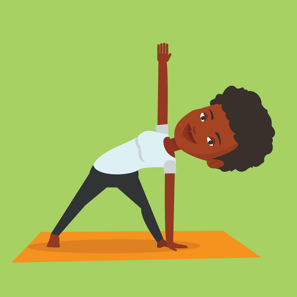 An african-american sportswoman standing in yoga triangle pose. Sportswoman meditating in yoga triangle position. Sporty woman doing yoga on the mat. Vector flat design illustration. Square layout.