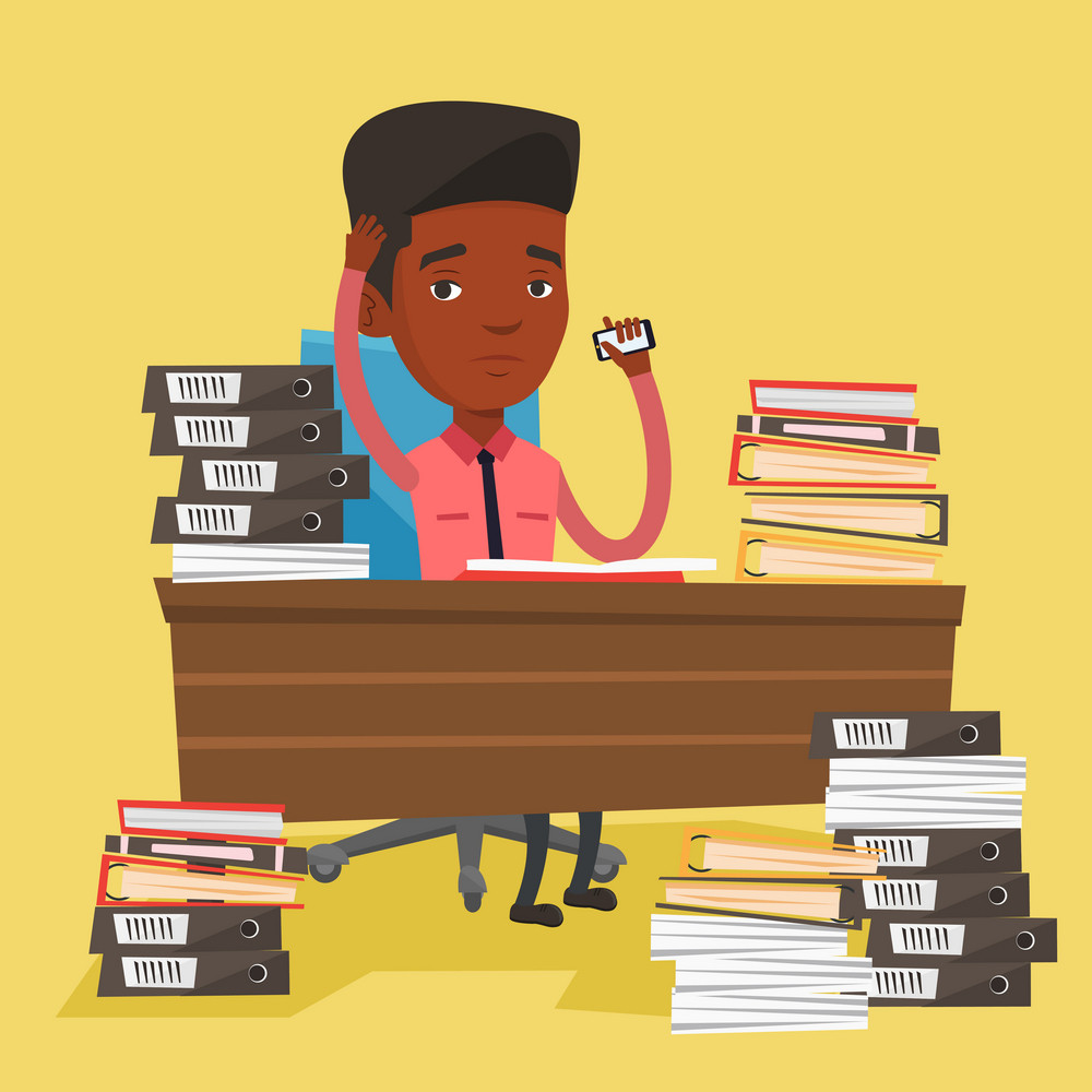 An african-american stressed office worker. Overworked man feeling stress from work. Stressful employee sitting at workplace. Stress at work concept. Vector flat design illustration. Square layout.