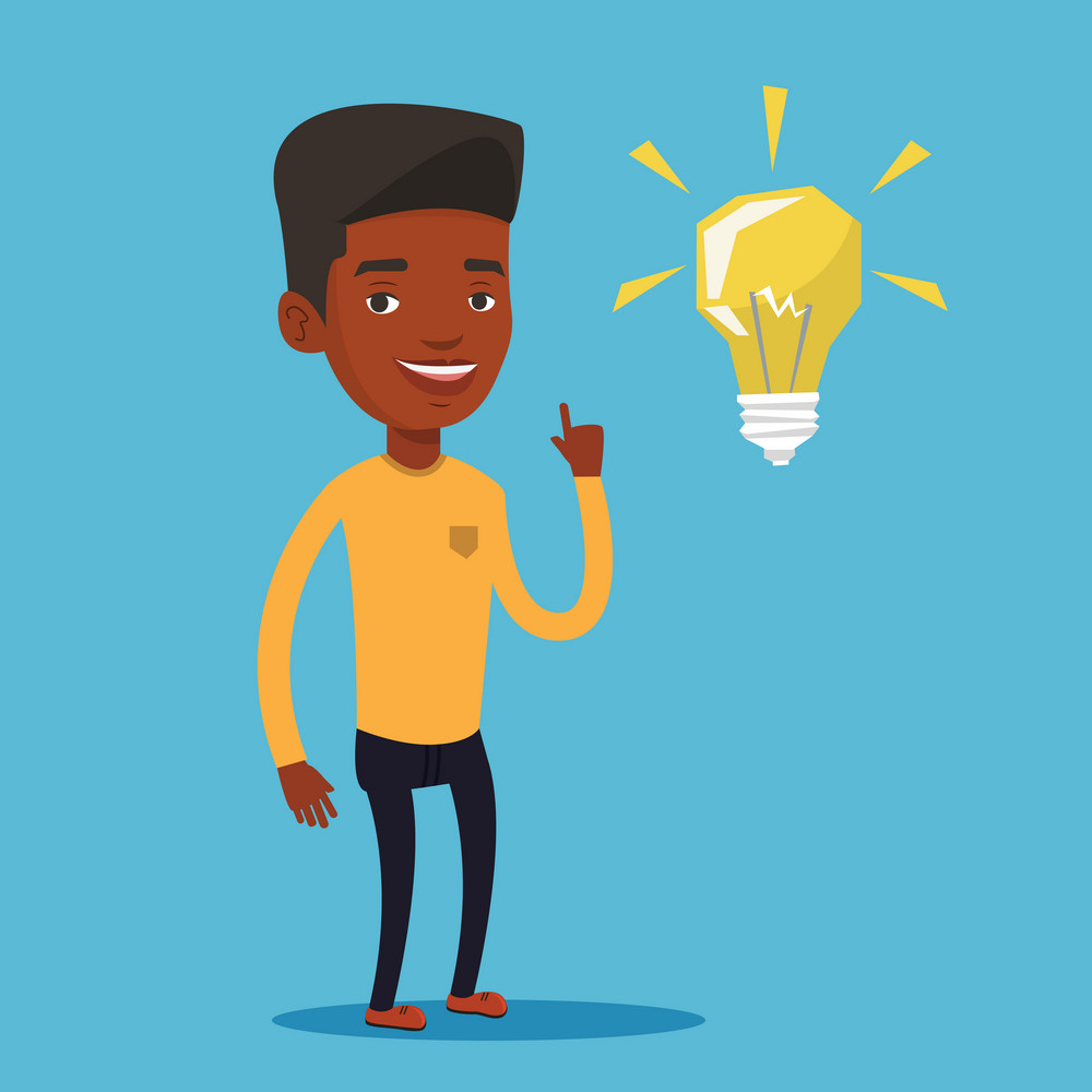An african-american student pointing his finger up at the idea bulb. Young excited male student with bright idea bulb. Student having a great idea. Vector flat design illustration. Square layout.