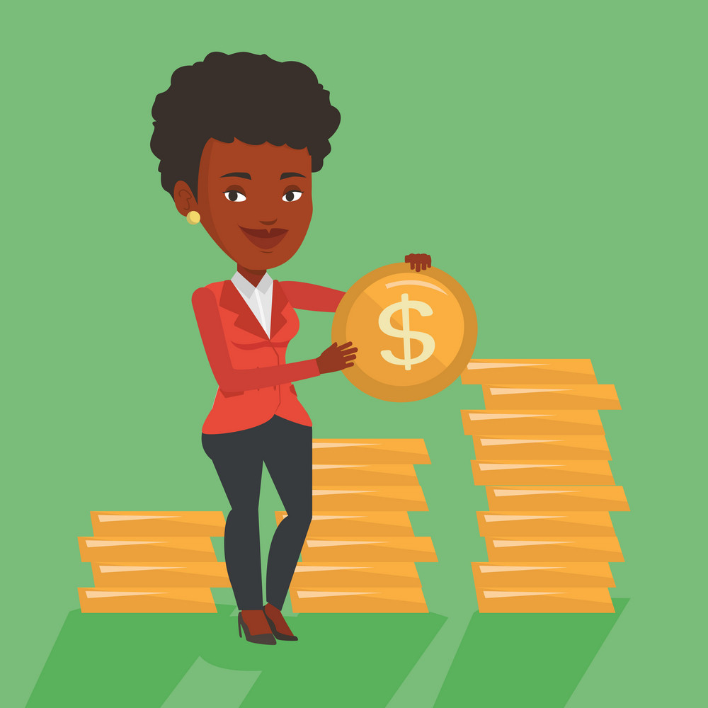 An african-american successful business woman with dollar golden coin in hands. Successful business woman holding golden coin. Business success concept. Vector flat design illustration. Square layout.