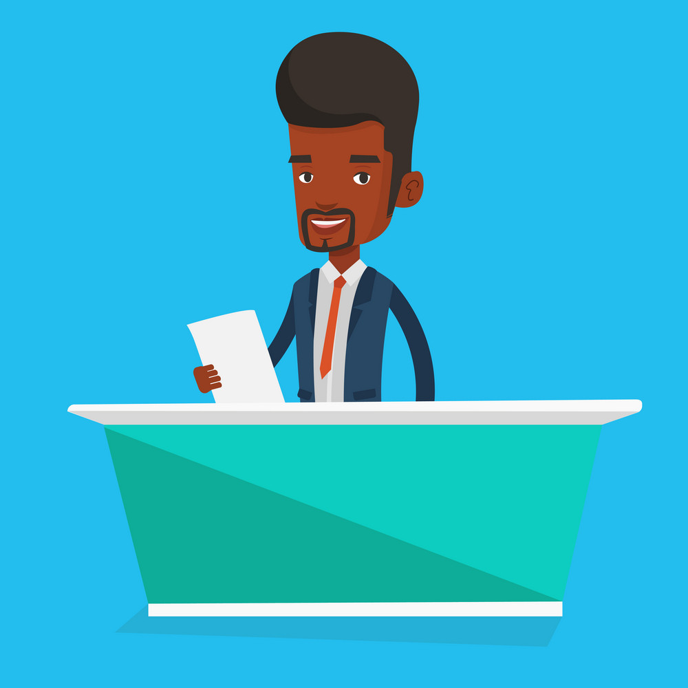 An african-american television anchorman at studio during live broadcasting. Television anchorman working at studio. Tv anchorman reporting the news. Vector flat design illustration. Square layout.
