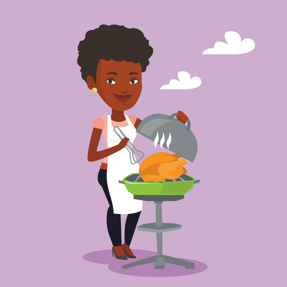 An african-american woman cooking chicken on barbecue grill outdoors. Young woman having a barbecue party. Woman preparing chicken on barbecue grill. Vector flat design illustration. Square layout.
